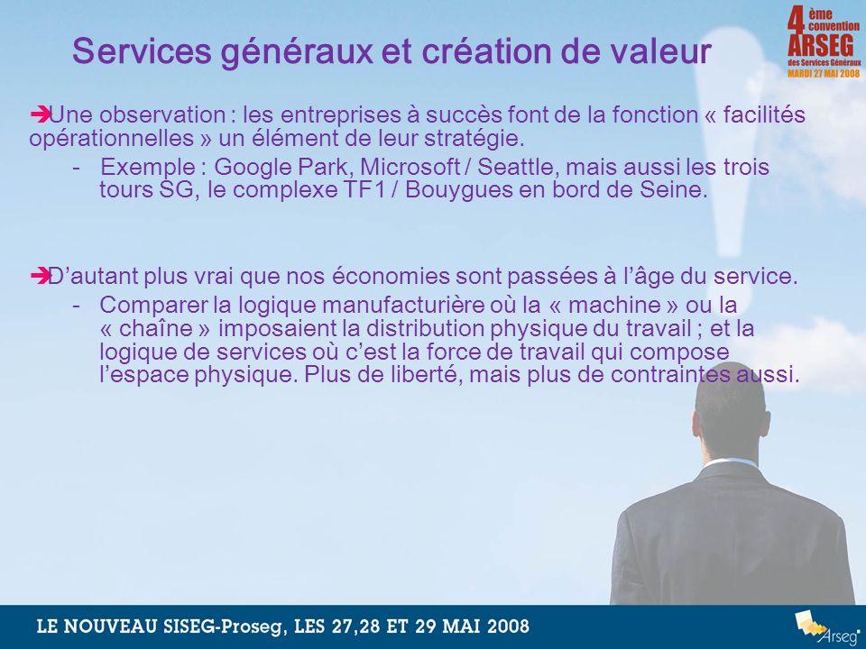 Services généraux et création de valeur Une observation : les entreprises à succès font de la fonction « facilités opérationnelles » un élément de leu