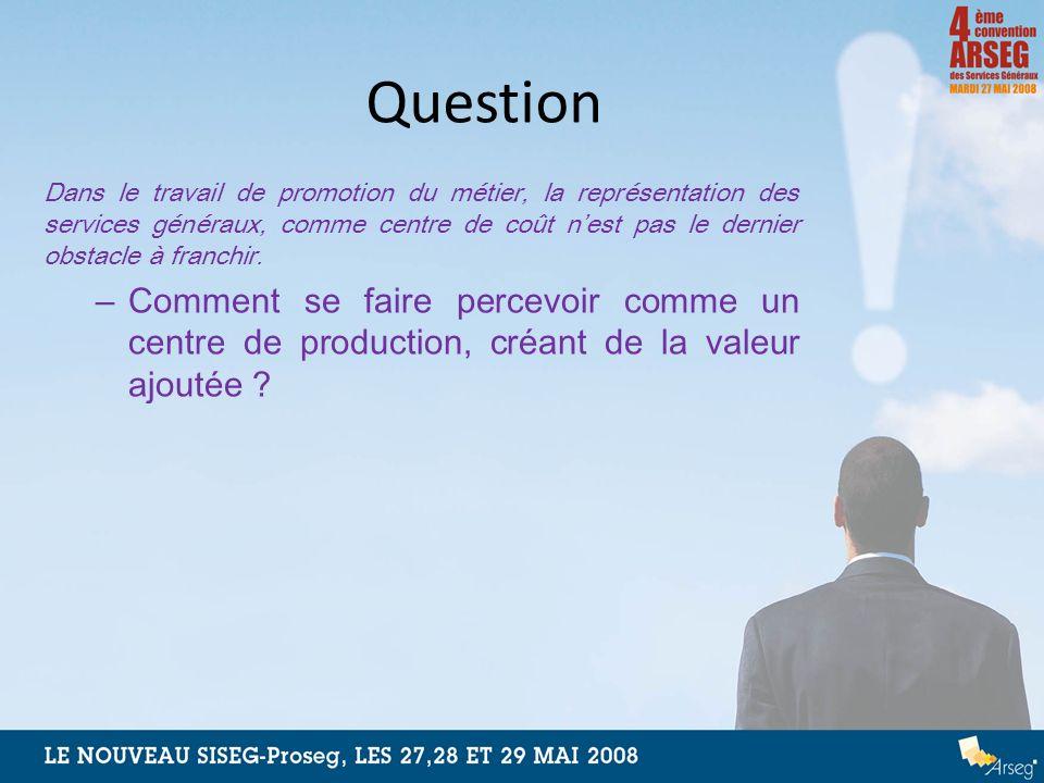 Question Dans le travail de promotion du métier, la représentation des services généraux, comme centre de coût nest pas le dernier obstacle à franchir