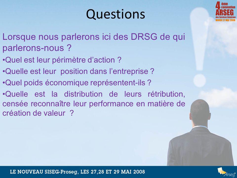 Questions Lorsque nous parlerons ici des DRSG de qui parlerons-nous ? Quel est leur périmètre daction ? Quelle est leur position dans lentreprise ? Qu