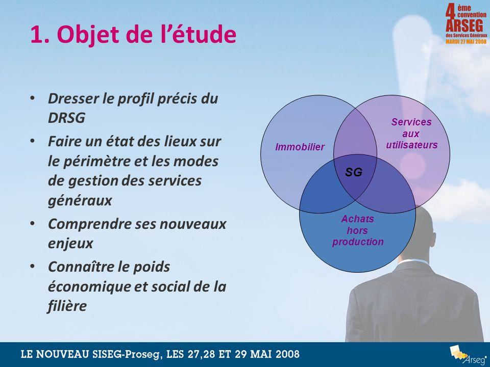 1. Objet de létude Dresser le profil précis du DRSG Faire un état des lieux sur le périmètre et les modes de gestion des services généraux Comprendre
