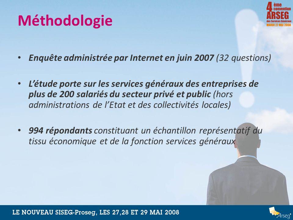 Méthodologie Enquête administrée par Internet en juin 2007 (32 questions) Létude porte sur les services généraux des entreprises de plus de 200 salari