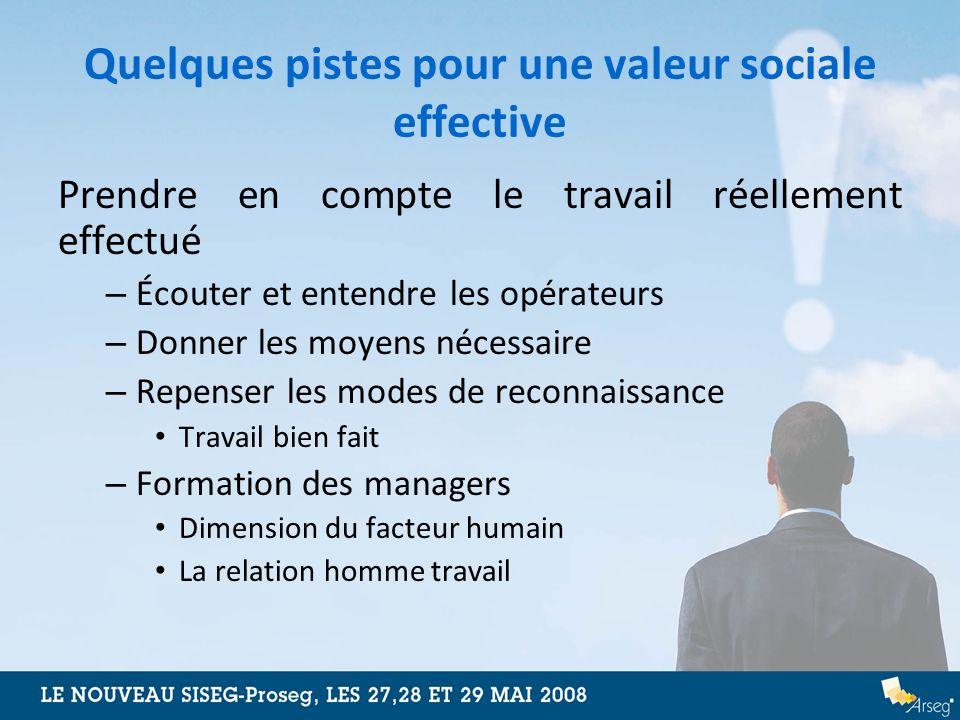 Quelques pistes pour une valeur sociale effective Prendre en compte le travail réellement effectué – Écouter et entendre les opérateurs – Donner les m