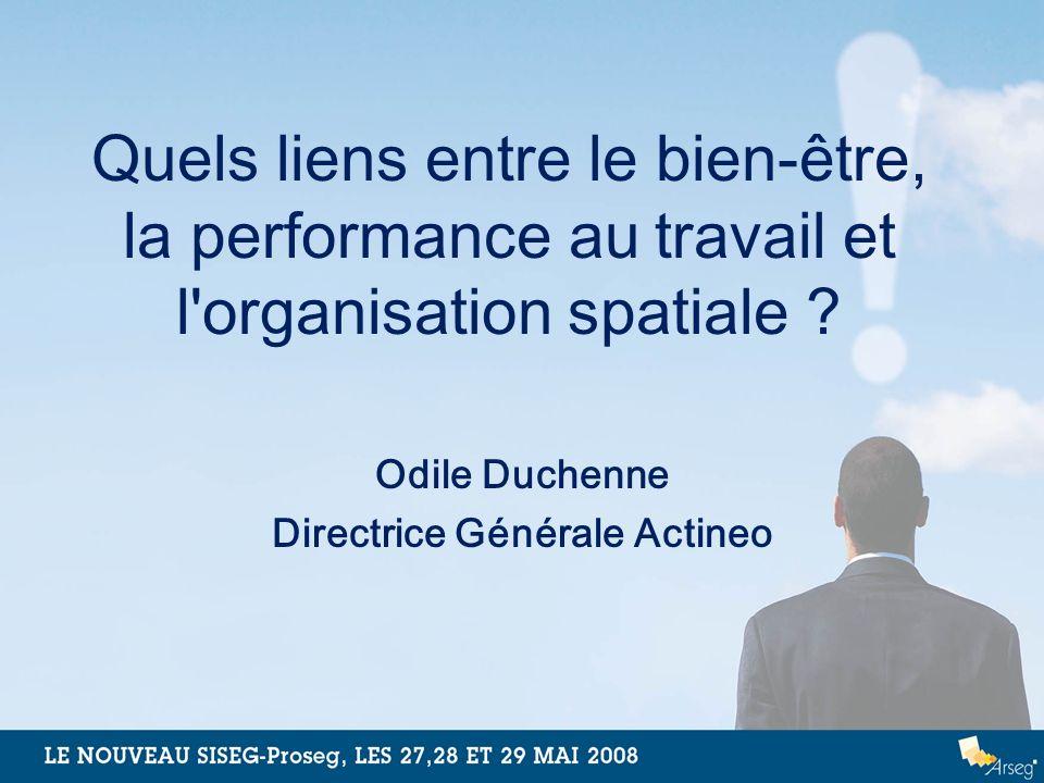Quels liens entre le bien-être, la performance au travail et l'organisation spatiale ? Odile Duchenne Directrice Générale Actineo