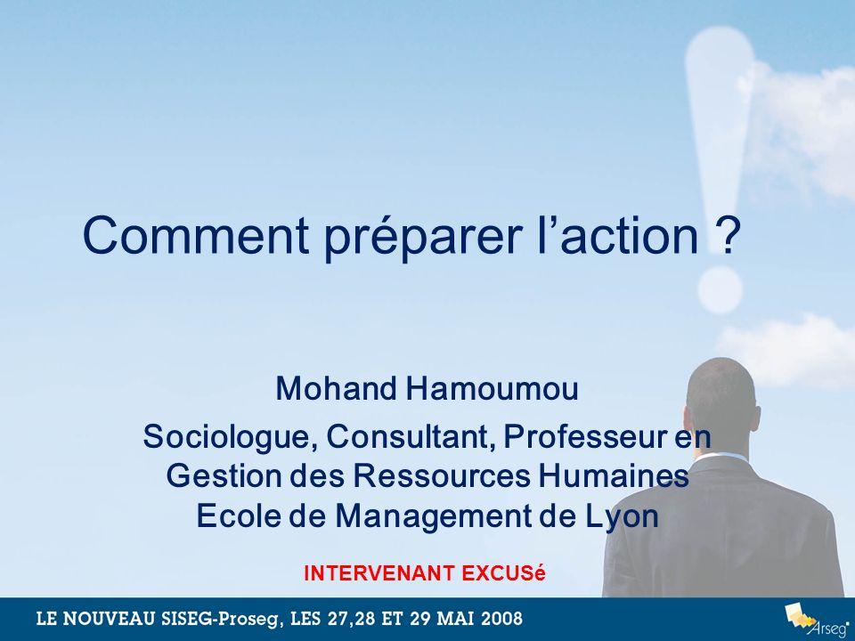 Comment préparer laction ? Mohand Hamoumou Sociologue, Consultant, Professeur en Gestion des Ressources Humaines Ecole de Management de Lyon INTERVENA