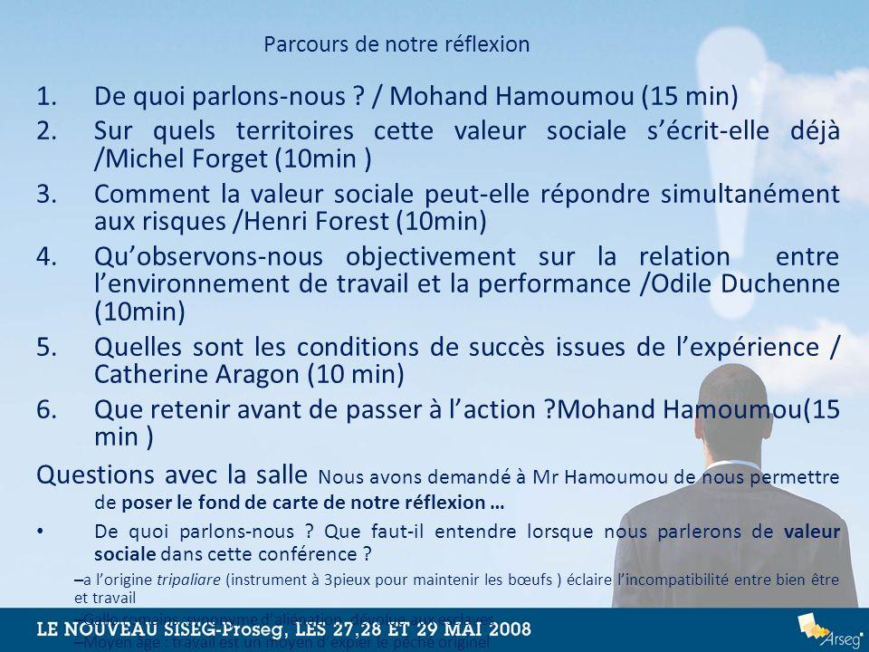 Parcours de notre réflexion 1.De quoi parlons-nous ? / Mohand Hamoumou (15 min) 2.Sur quels territoires cette valeur sociale sécrit-elle déjà /Michel