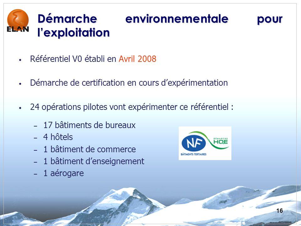 16 Démarche environnementale pour lexploitation Référentiel V0 établi en Avril 2008 Démarche de certification en cours dexpérimentation 24 opérations