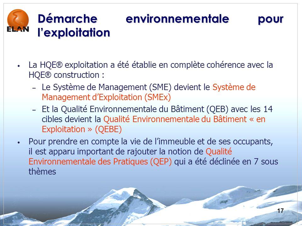 17 La HQE ® exploitation a été établie en complète cohérence avec la HQE ® construction : – Le Système de Management (SME) devient le Système de Manag