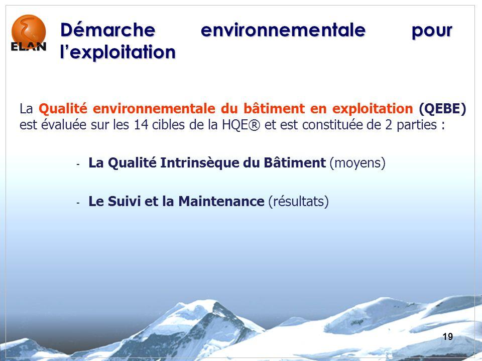 19 La Qualité environnementale du bâtiment en exploitation (QEBE) est évaluée sur les 14 cibles de la HQE® et est constituée de 2 parties : - La Quali