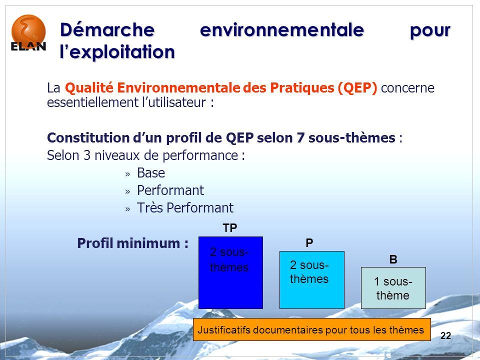 22 La Qualité Environnementale des Pratiques (QEP) concerne essentiellement lutilisateur : Constitution dun profil de QEP selon 7 sous-thèmes : Selon