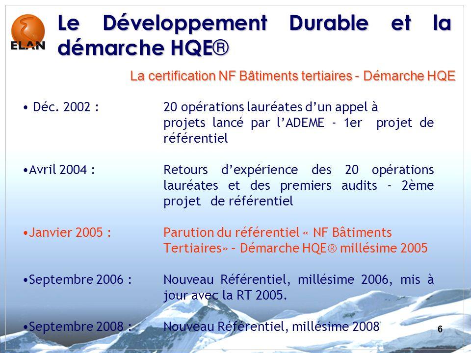 6 Déc. 2002 : 20 opérations lauréates dun appel à projets lancé par lADEME - 1er projet de référentiel Avril 2004 :Retours dexpérience des 20 opératio