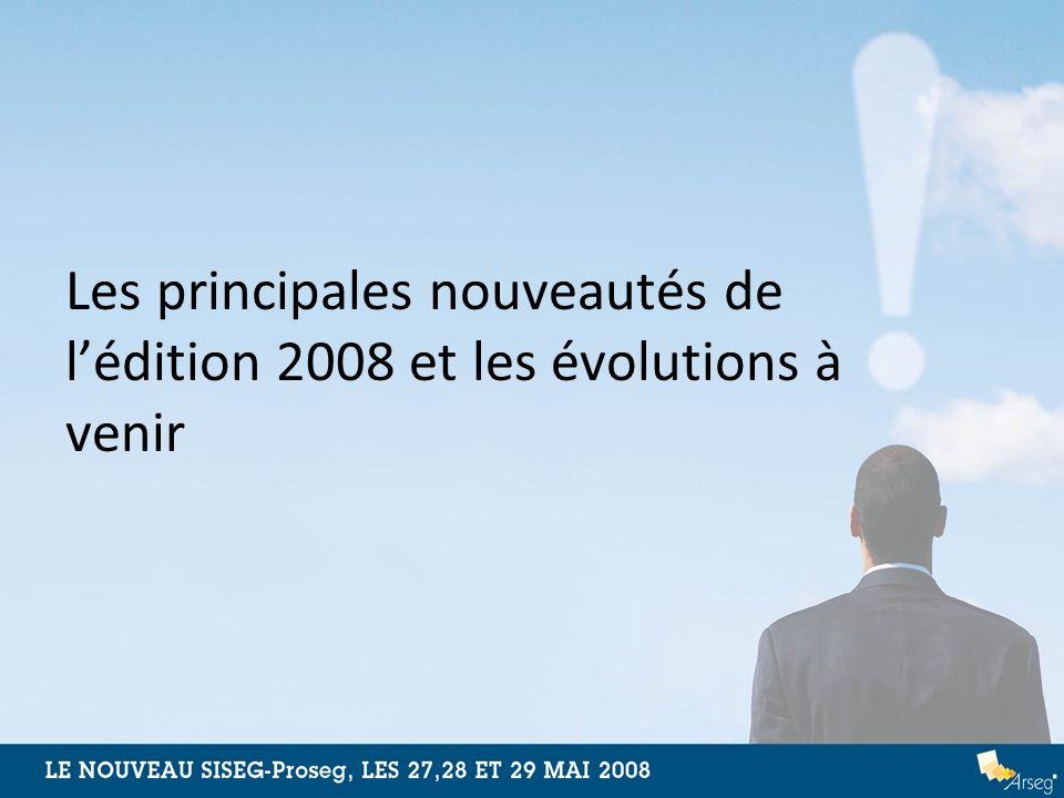 Les principales nouveautés de lédition 2008 et les évolutions à venir