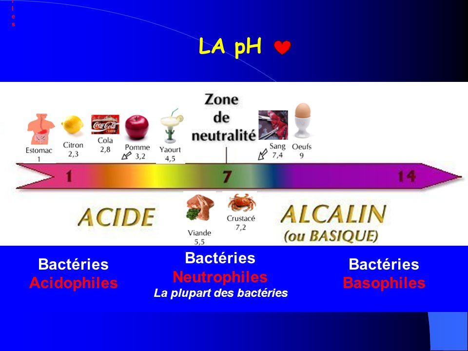 Bactéries AcidophilesBactéries Basophiles La plupart des bactéries Bactéries Neutrophiles Bactéries Neutrophiles Bactéries AcidophilesBactéries Basoph