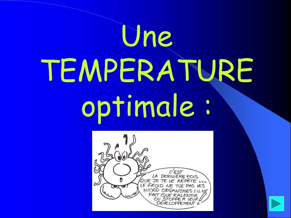 LA TEMPERATURE - thermo = chaleur, - phile = aime, - méso = milieu, - psychro et cryo = froid * « Toutes les bactéries pathogènes pour lhomme sont au moins mésophiles (aime se développer à T°C moyenne de 37°C) » Nom des bactéries Zone de T°C de développement Température optimale à retenir Exemples à retenir + 30 à + 60°C Clostridium + 15 à + 40°CTous les germes pathogènes (staphylocoque, salmonelle…) + 4 à + 25°C listeria - 5 à + 3°C Thermophiles* + 50°C + 37°C (T°C corps) Mésophiles* + 10°C (T°C frigidaire) Psychrotrophes* 0°C (T°C frigidaire) Cryophile*