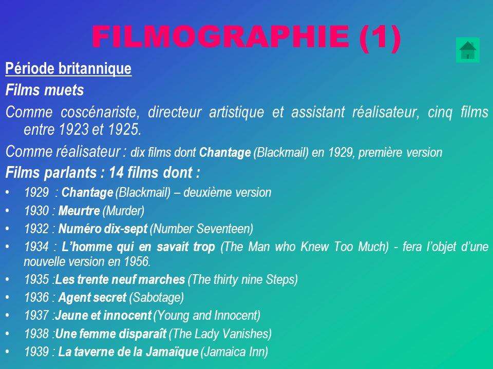 FILMOGRAPHIE (1) Période britannique Films muets Comme coscénariste, directeur artistique et assistant réalisateur, cinq films entre 1923 et 1925.