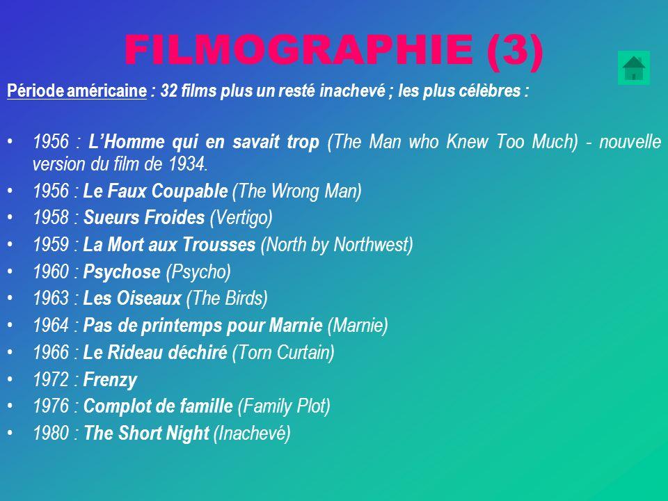 FILMOGRAPHIE (3) Période américaine : 32 films plus un resté inachevé ; les plus célèbres : 1956 : LHomme qui en savait trop (The Man who Knew Too Much) - nouvelle version du film de 1934.