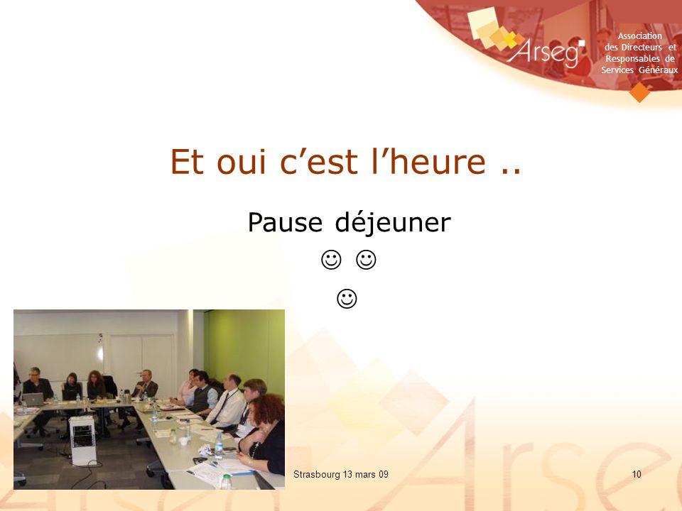 Association des Directeurs et Responsables de Services Généraux Strasbourg 13 mars 0910 Et oui cest lheure..