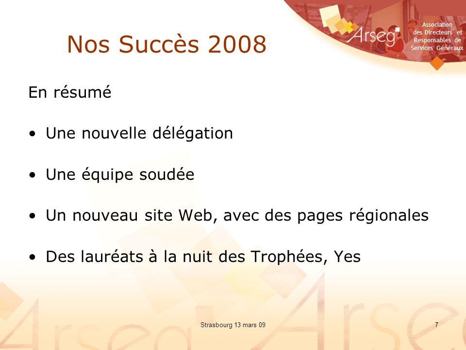 Association des Directeurs et Responsables de Services Généraux Strasbourg 13 mars 0918 Objectifs 2009 Définition de notre tactique en 3 ou 4 points (suite): –Région Ouest : A.