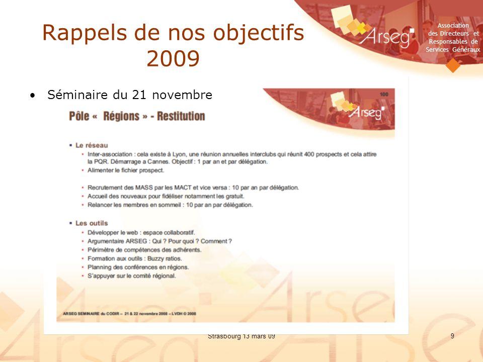 Association des Directeurs et Responsables de Services Généraux Strasbourg 13 mars 099 Rappels de nos objectifs 2009 Séminaire du 21 novembre