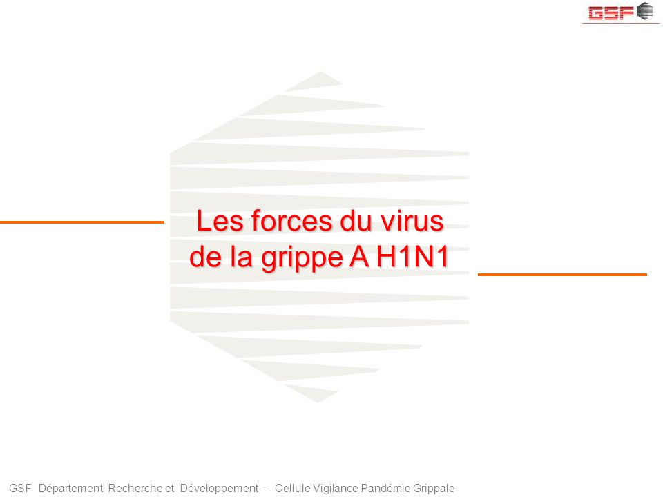 GSF Département Recherche et Développement – Cellule Vigilance Pandémie Grippale Les forces du virus de la grippe A H1N1