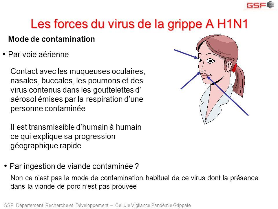 GSF Département Recherche et Développement – Cellule Vigilance Pandémie Grippale Les forces du virus de la grippe A H1N1 Mode de contamination Par voi
