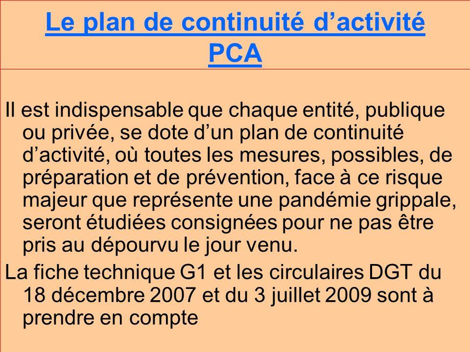 Le plan de continuité dactivité PCA Il est indispensable que chaque entité, publique ou privée, se dote dun plan de continuité dactivité, où toutes les mesures, possibles, de préparation et de prévention, face à ce risque majeur que représente une pandémie grippale, seront étudiées consignées pour ne pas être pris au dépourvu le jour venu.