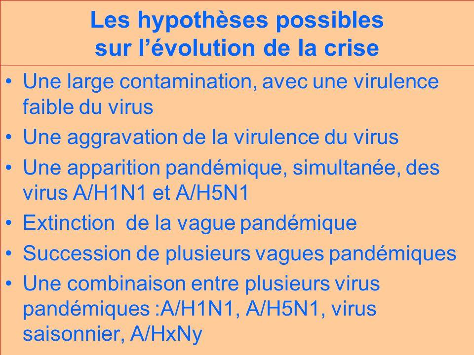 Les hypothèses possibles sur lévolution de la crise Une large contamination, avec une virulence faible du virus Une aggravation de la virulence du virus Une apparition pandémique, simultanée, des virus A/H1N1 et A/H5N1 Extinction de la vague pandémique Succession de plusieurs vagues pandémiques Une combinaison entre plusieurs virus pandémiques :A/H1N1, A/H5N1, virus saisonnier, A/HxNy