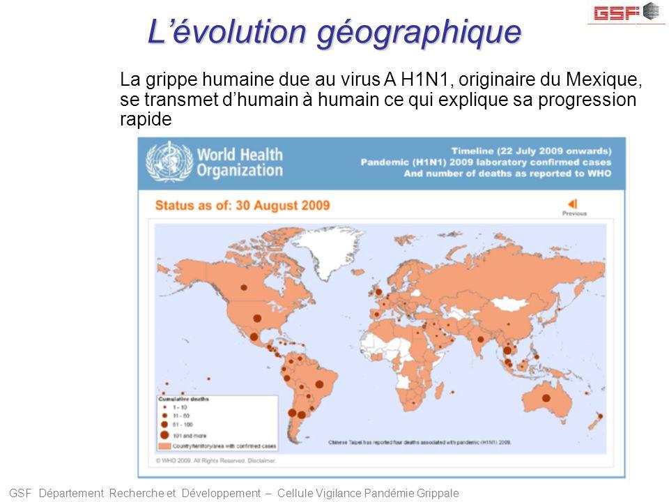 GSF Département Recherche et Développement – Cellule Vigilance Pandémie Grippale Lévolution géographique La grippe humaine due au virus A H1N1, origin