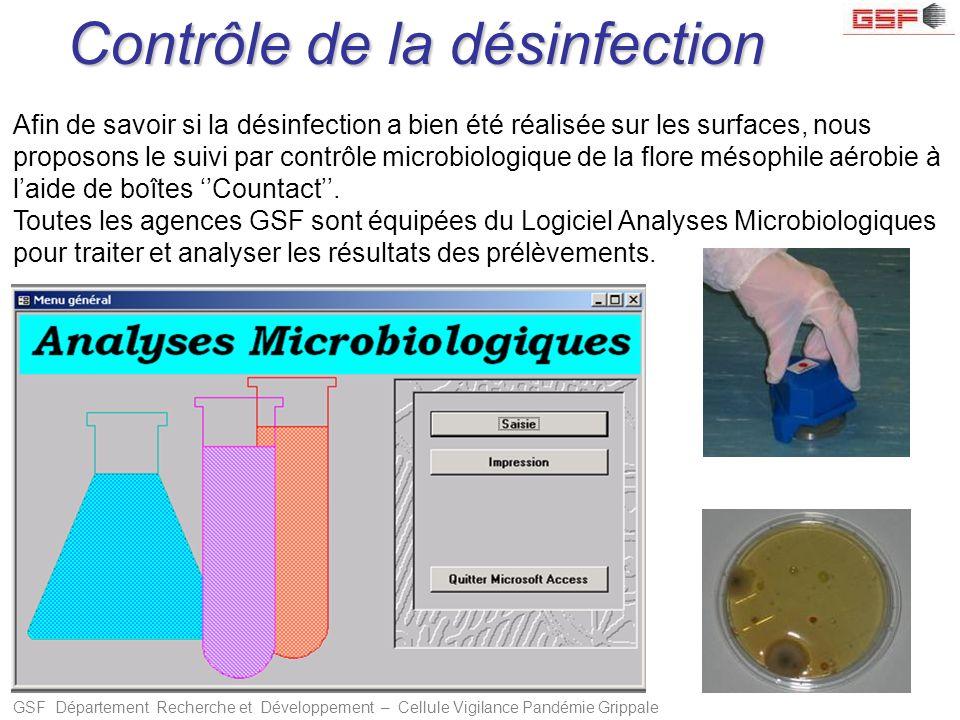 GSF Département Recherche et Développement – Cellule Vigilance Pandémie Grippale Afin de savoir si la désinfection a bien été réalisée sur les surface