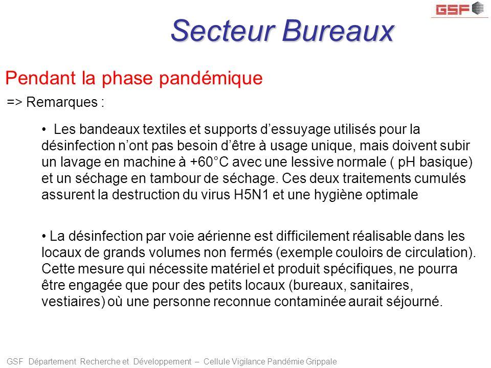 GSF Département Recherche et Développement – Cellule Vigilance Pandémie Grippale Secteur Bureaux => Remarques : La désinfection par voie aérienne est