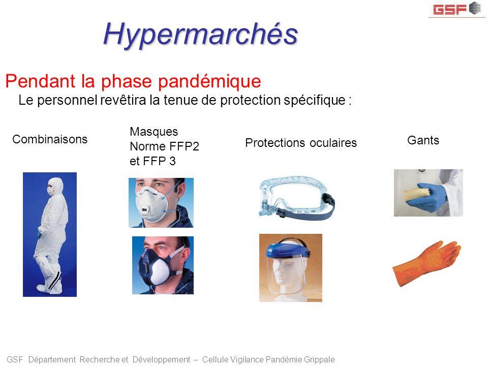 GSF Département Recherche et Développement – Cellule Vigilance Pandémie Grippale Le personnel revêtira la tenue de protection spécifique : Masques Nor