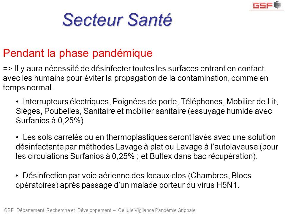 GSF Département Recherche et Développement – Cellule Vigilance Pandémie Grippale Secteur Santé Pendant la phase pandémique => Il y aura nécessité de d