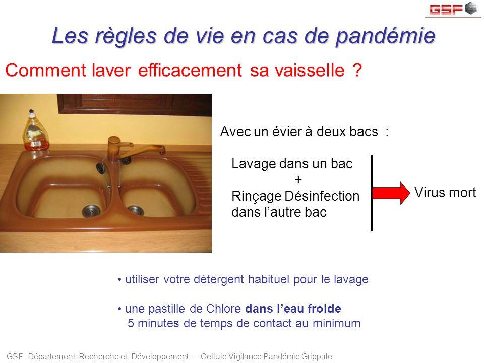 GSF Département Recherche et Développement – Cellule Vigilance Pandémie Grippale Comment laver efficacement sa vaisselle ? Avec un évier à deux bacs :
