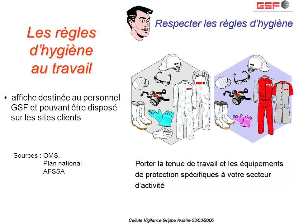 GSF Département Recherche et Développement – Cellule Vigilance Pandémie Grippale Sources : OMS, Plan national AFSSA Les règles dhygiène au travail aff