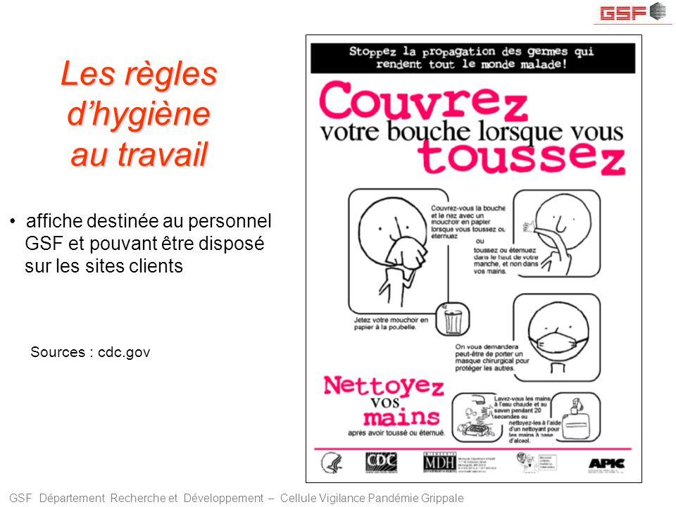 GSF Département Recherche et Développement – Cellule Vigilance Pandémie Grippale Sources : cdc.gov Les règles dhygiène au travail affiche destinée au