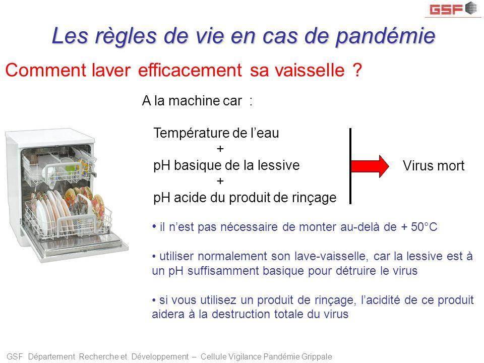 GSF Département Recherche et Développement – Cellule Vigilance Pandémie Grippale Comment laver efficacement sa vaisselle ? il nest pas nécessaire de m