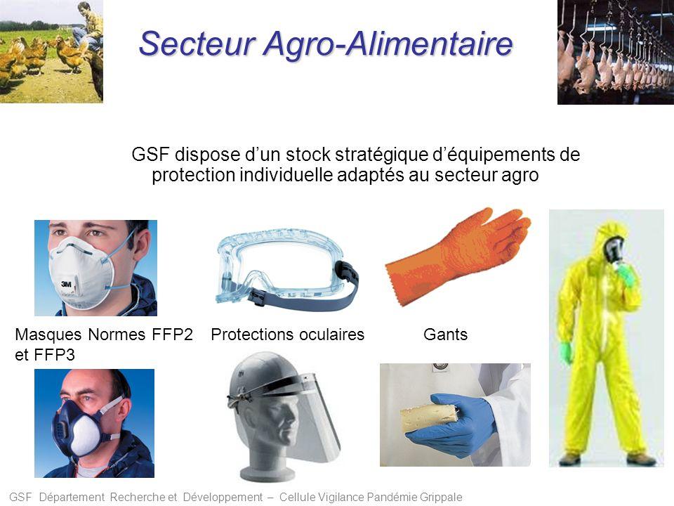 GSF Département Recherche et Développement – Cellule Vigilance Pandémie Grippale GSF dispose dun stock stratégique déquipements de protection individu