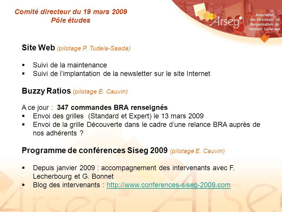 Association des Directeurs et Responsables de Services Généraux Comité directeur du 19 mars 2009 Pôle études Site Web (pilotage P. Tudela-Saada) Suivi