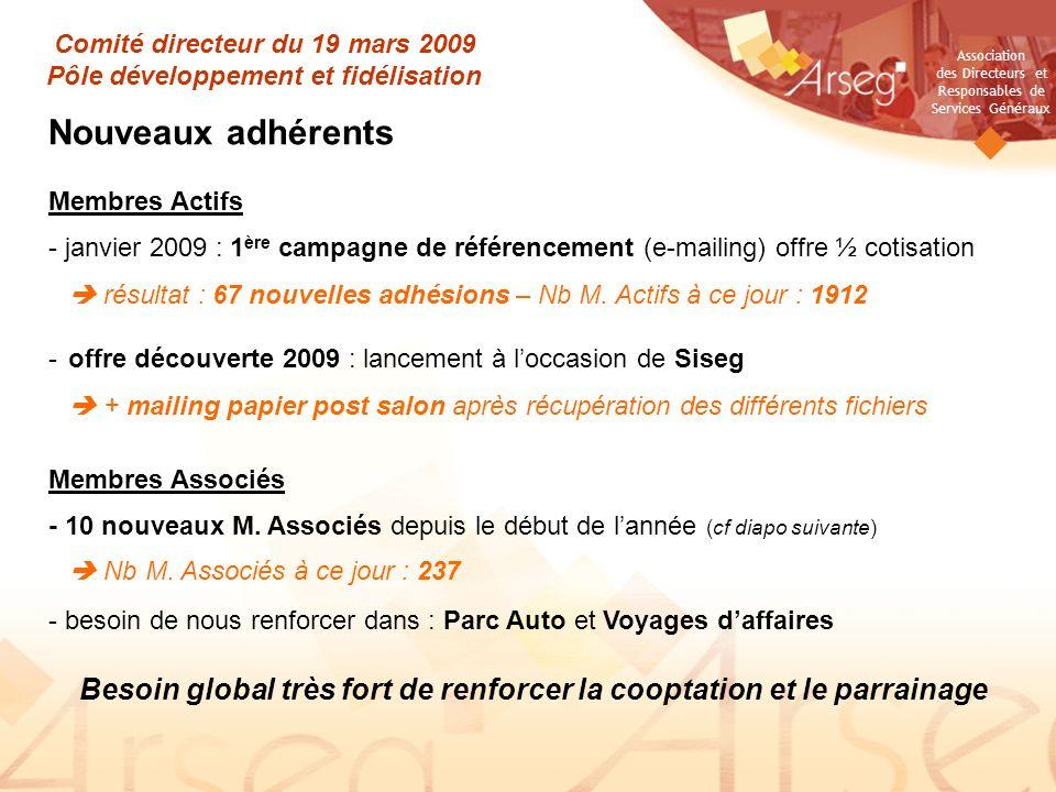Association des Directeurs et Responsables de Services Généraux Comité directeur du 19 mars 2009 Pôle développement et fidélisation Nouveaux adhérents