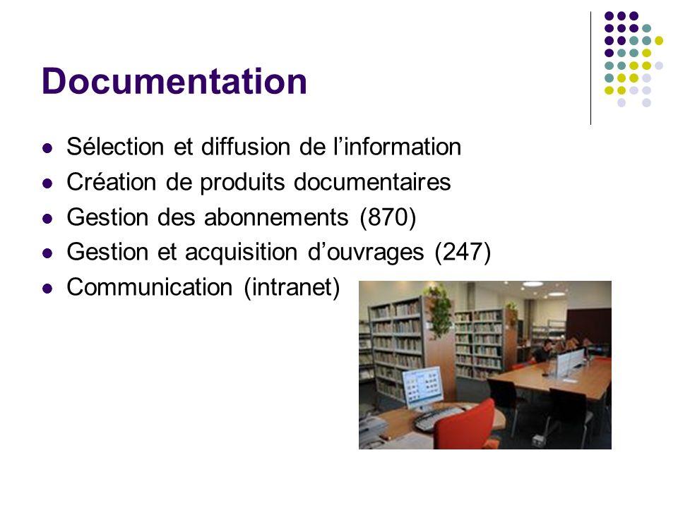 Documentation Sélection et diffusion de linformation Création de produits documentaires Gestion des abonnements (870) Gestion et acquisition douvrages (247) Communication (intranet)
