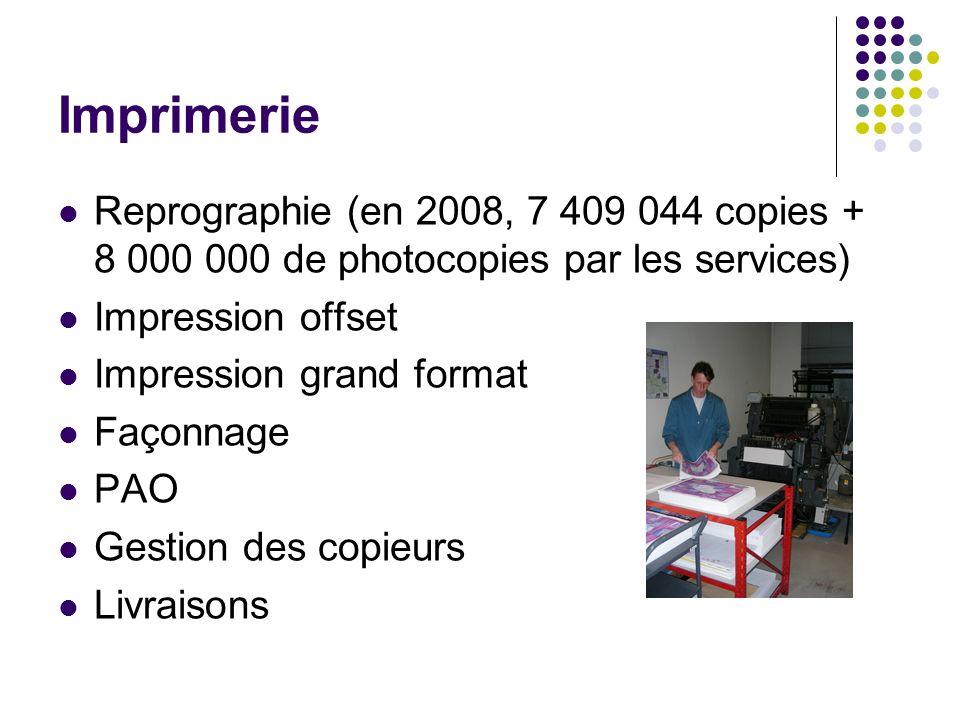 Imprimerie Reprographie (en 2008, 7 409 044 copies + 8 000 000 de photocopies par les services) Impression offset Impression grand format Façonnage PAO Gestion des copieurs Livraisons