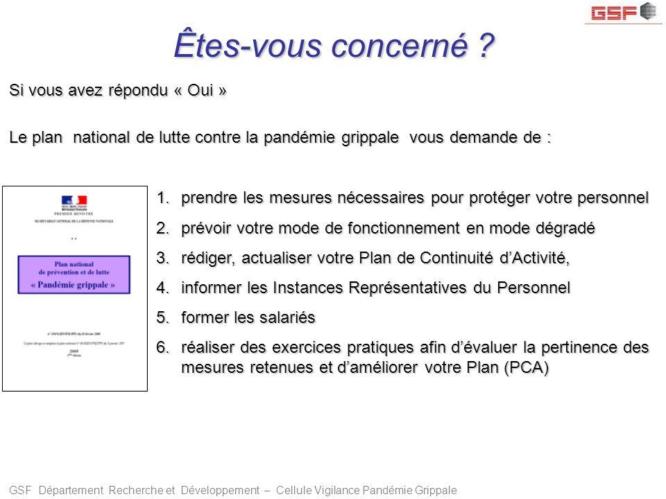 GSF Département Recherche et Développement – Cellule Vigilance Pandémie Grippale Êtes-vous concerné .