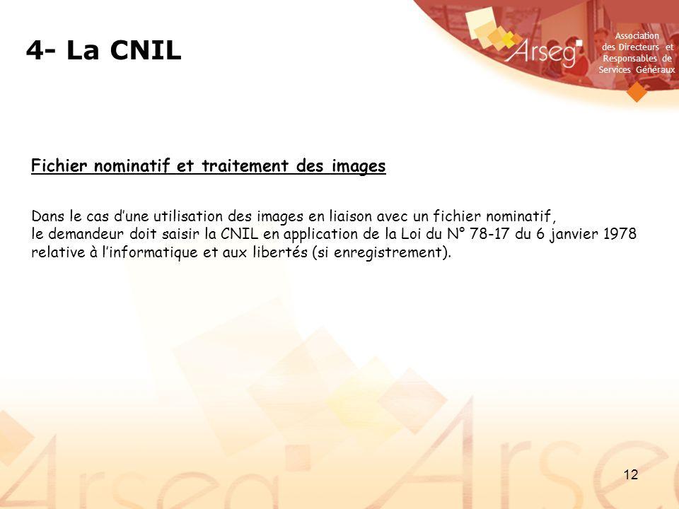 Association des Directeurs et Responsables de Services Généraux 12 Fichier nominatif et traitement des images Dans le cas dune utilisation des images