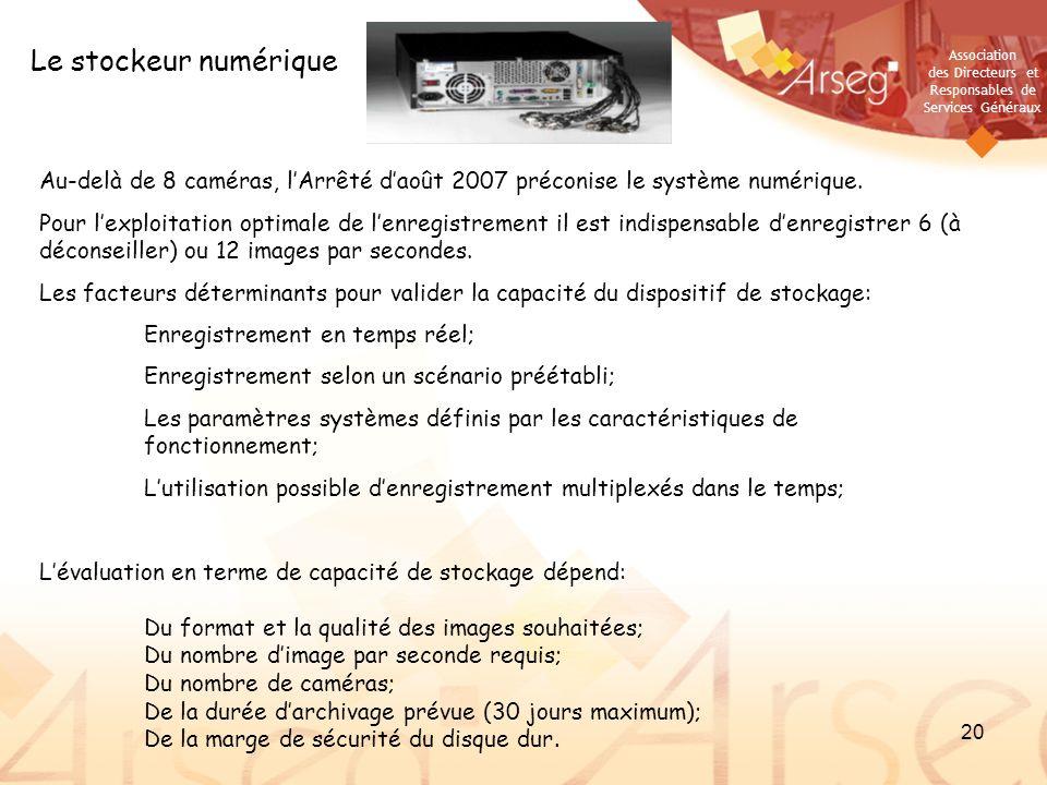 Association des Directeurs et Responsables de Services Généraux 20 Le stockeur numérique Au-delà de 8 caméras, lArrêté daoût 2007 préconise le système