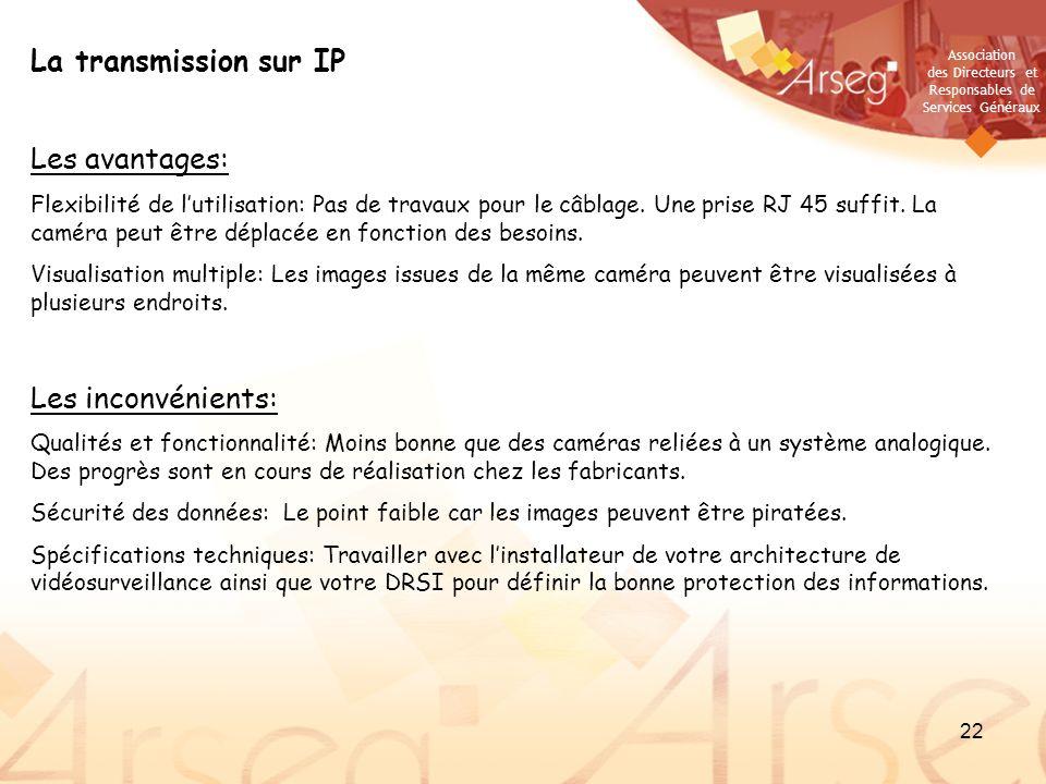 Association des Directeurs et Responsables de Services Généraux 22 La transmission sur IP Les avantages: Flexibilité de lutilisation: Pas de travaux p