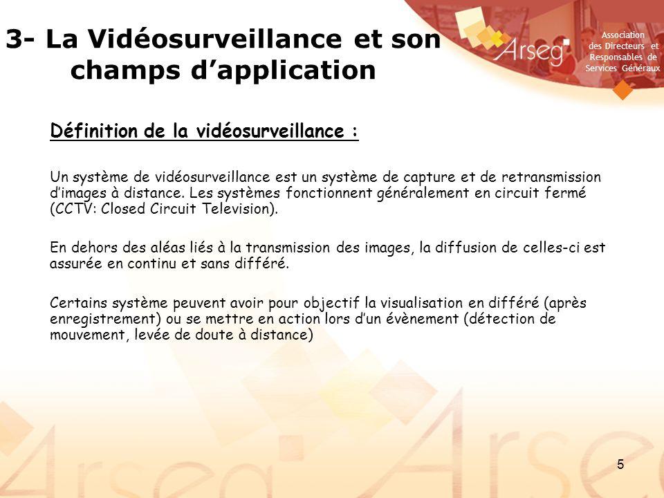 Association des Directeurs et Responsables de Services Généraux 5 Définition de la vidéosurveillance : Un système de vidéosurveillance est un système