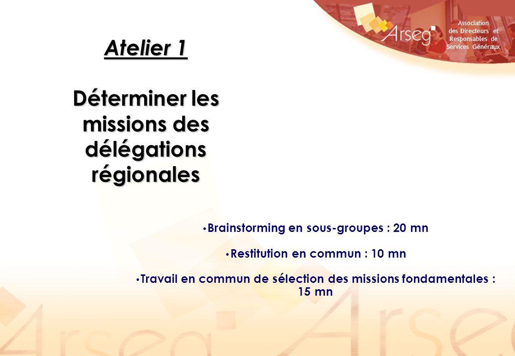 Association des Directeurs et Responsables de Services Généraux Atelier 1 Déterminer les missions des délégations régionales Brainstorming en sous-gro