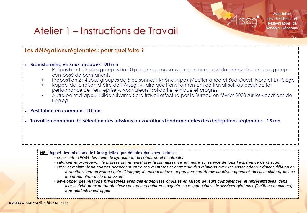Association des Directeurs et Responsables de Services Généraux ARSEG – Mercredi 6 février 2008 12 Atelier 1 – Instructions de Travail Les délégations