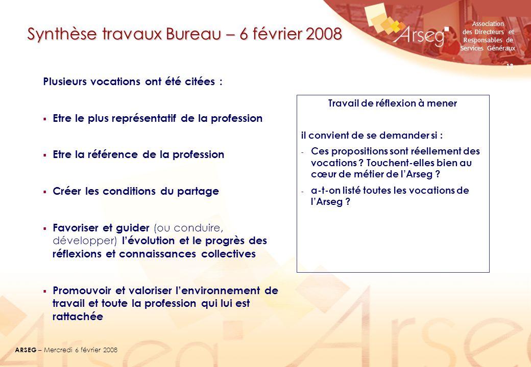 Association des Directeurs et Responsables de Services Généraux ARSEG – Mercredi 6 février 2008 13 Synthèse travaux Bureau – 6 février 2008 Plusieurs