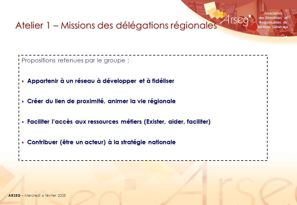 Association des Directeurs et Responsables de Services Généraux ARSEG – Mercredi 6 février 2008 14 Atelier 1 – Missions des délégations régionales Pro