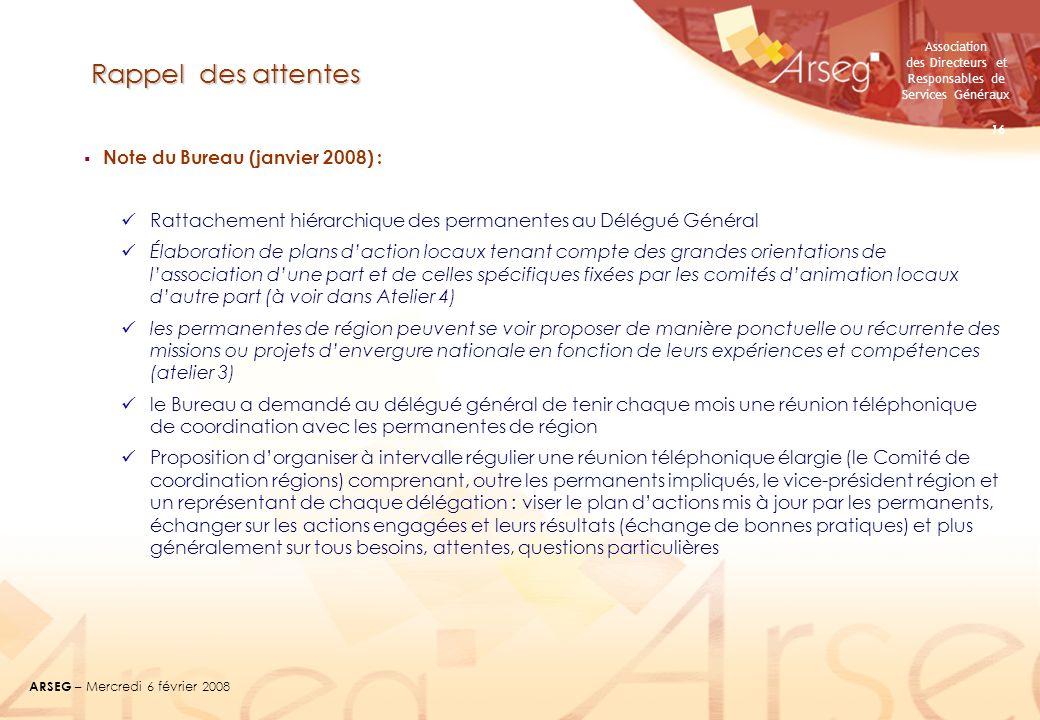 Association des Directeurs et Responsables de Services Généraux ARSEG – Mercredi 6 février 2008 16 Rappel des attentes Note du Bureau (janvier 2008) :